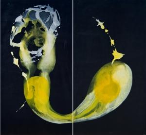 Mundos.Acrílico tela. 185x200 cm.Díptico finalista del Concurso Internacional de pintura Focus Abengoa de Sevilla. 2004.