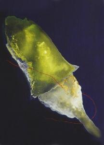 La frontera del espacio.Acrílico tela. 27x22 cm.2010.