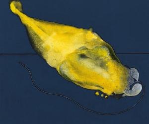 Atrapado en azul, 2018 Acrílico sobre tela, 38 x 46 cm